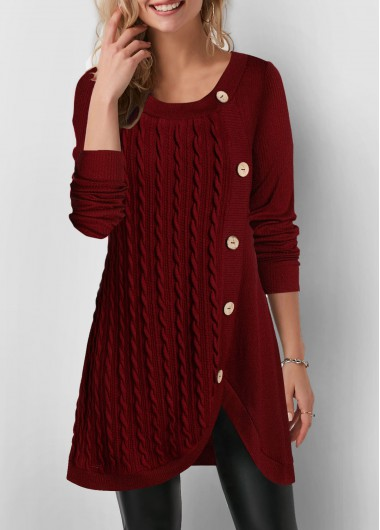 Inclined Button Tulip Hem Twist Detail Sweatshirt - L