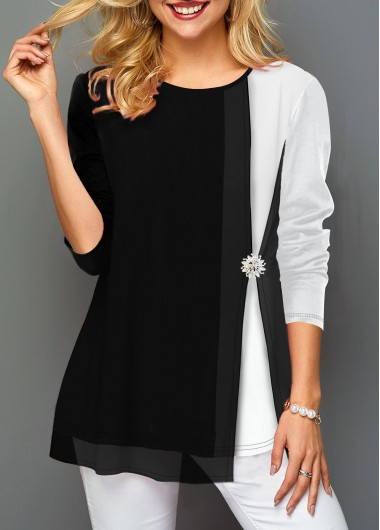 Contrast Panel Decorated Button Faux Two Piece T Shirt - L