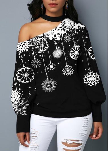Blouson Sleeve Snowflake Print Choker Neck Blouse - L