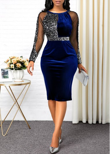 Blue Long Sleeve Back Slit Bodycon Dress New Year Eve Party Dress Sequin Dress - L