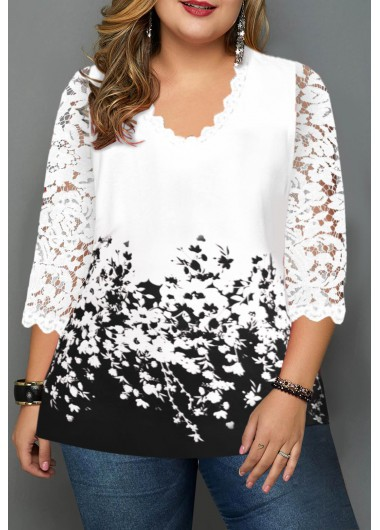 Plus Size Floral Print Lace Panel T Shirt - 0X