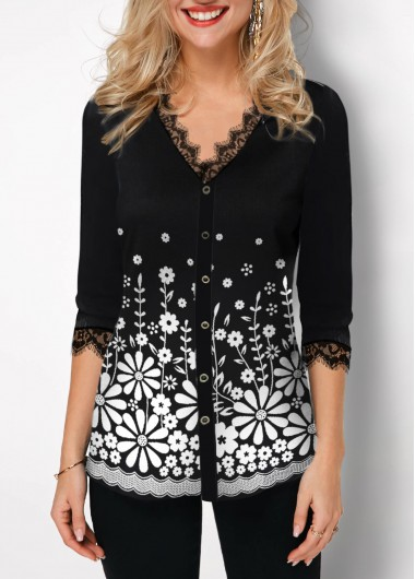 Lace Panel Button Up Floral Print T Shirt - XXL