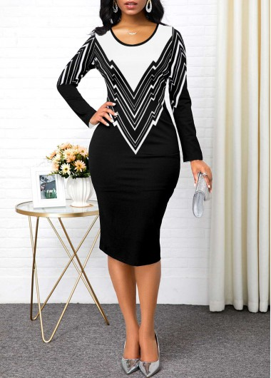 Geometric Print Long Sleeve Contrast Panel Sheath Dress - L