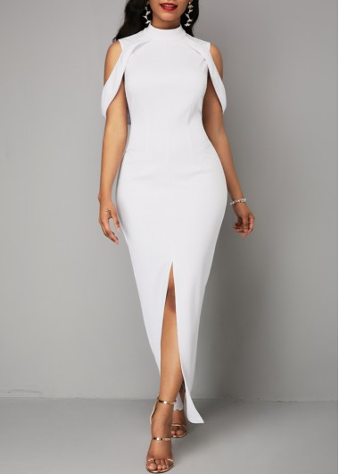 White High Neck Cold Shoulder Sleeveless Front Slit Maxi Dress Bodycon Dress Party Dress - M