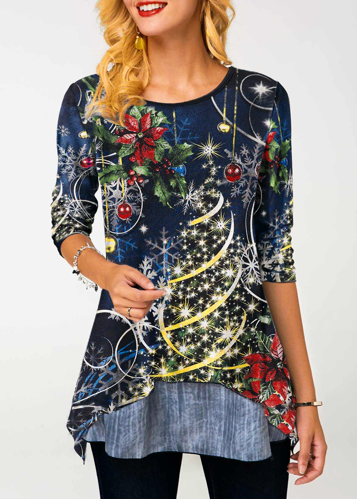 Christmas Print Navy Blue Round Neck T Shirt