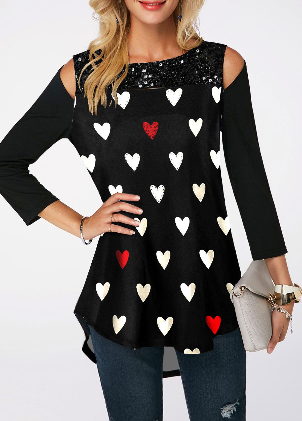 Cold Shoulder Heart Print Sequin Embellished T Shirt