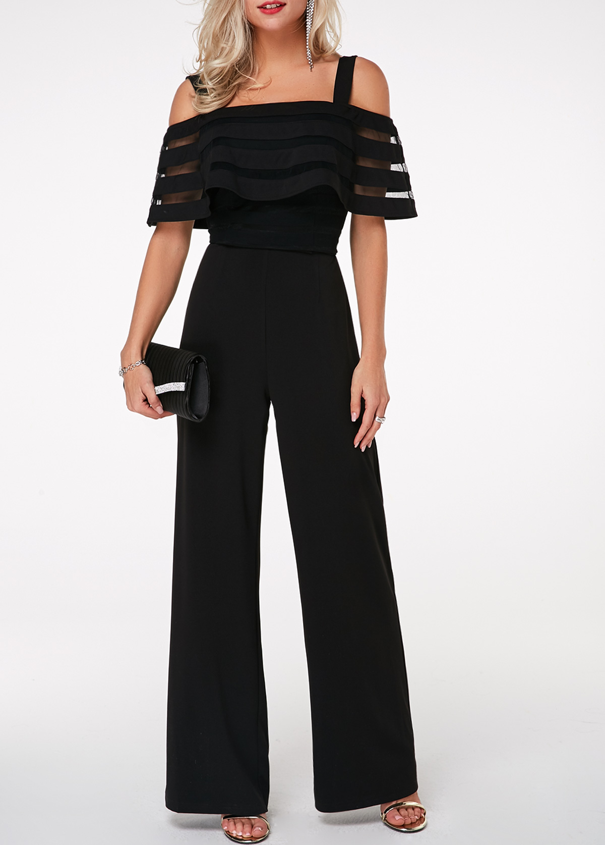 Strappy Cold Shoulder Ruffle Overlay Black Jumpsuit
