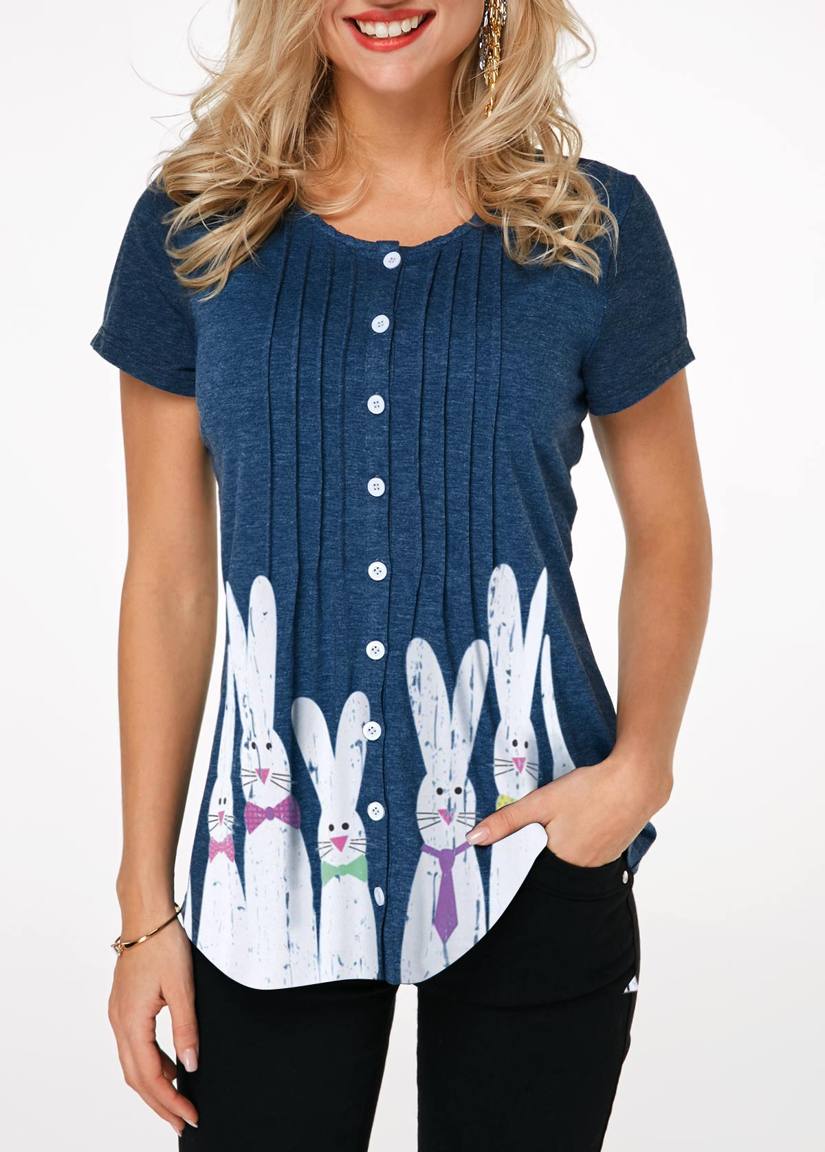 Rabbit Print Crinkle Chest Button Front Easter T Shirt