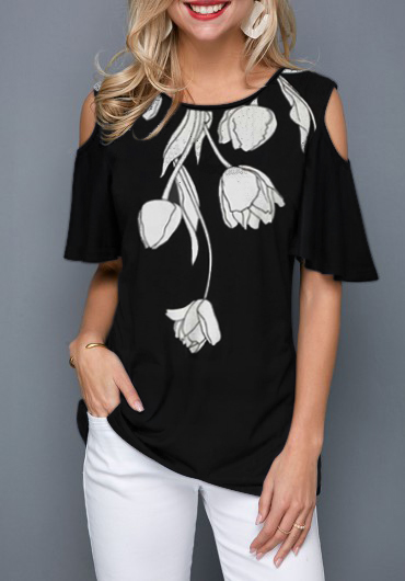 Cold Shoulder Flower Print Black T Shirt