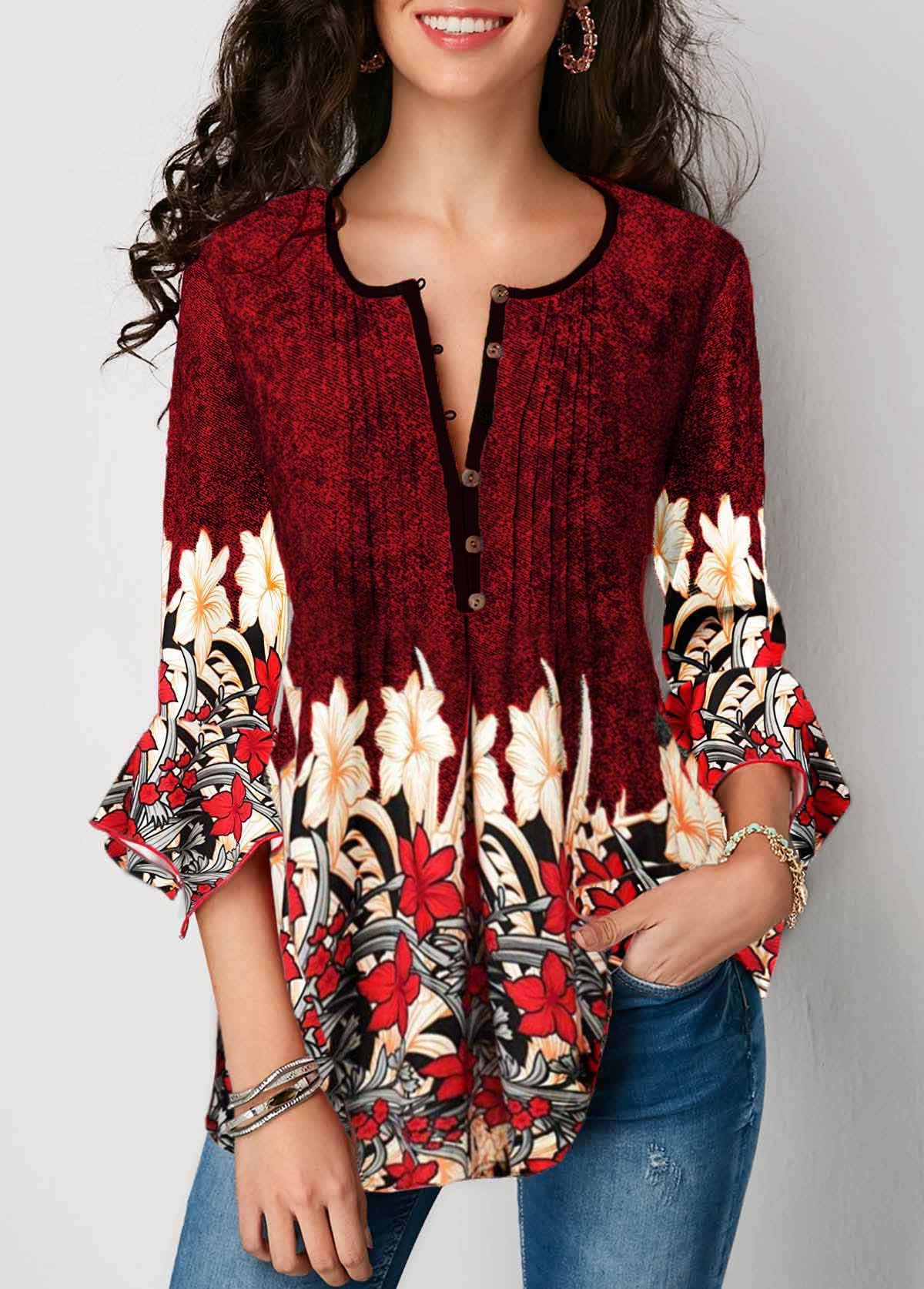 Split Neck Three Quarter Sleeve Printed Blouse