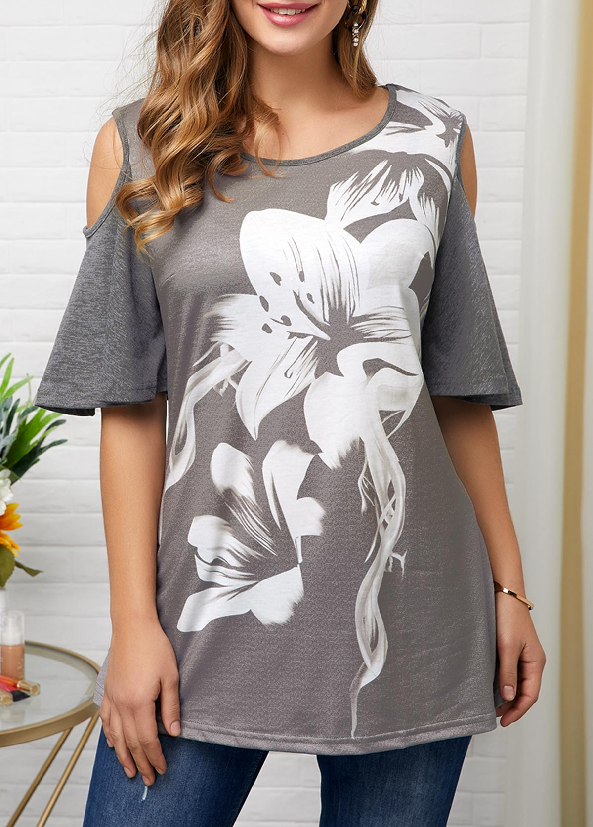 Cold Shoulder Flower Print Grey Blouse