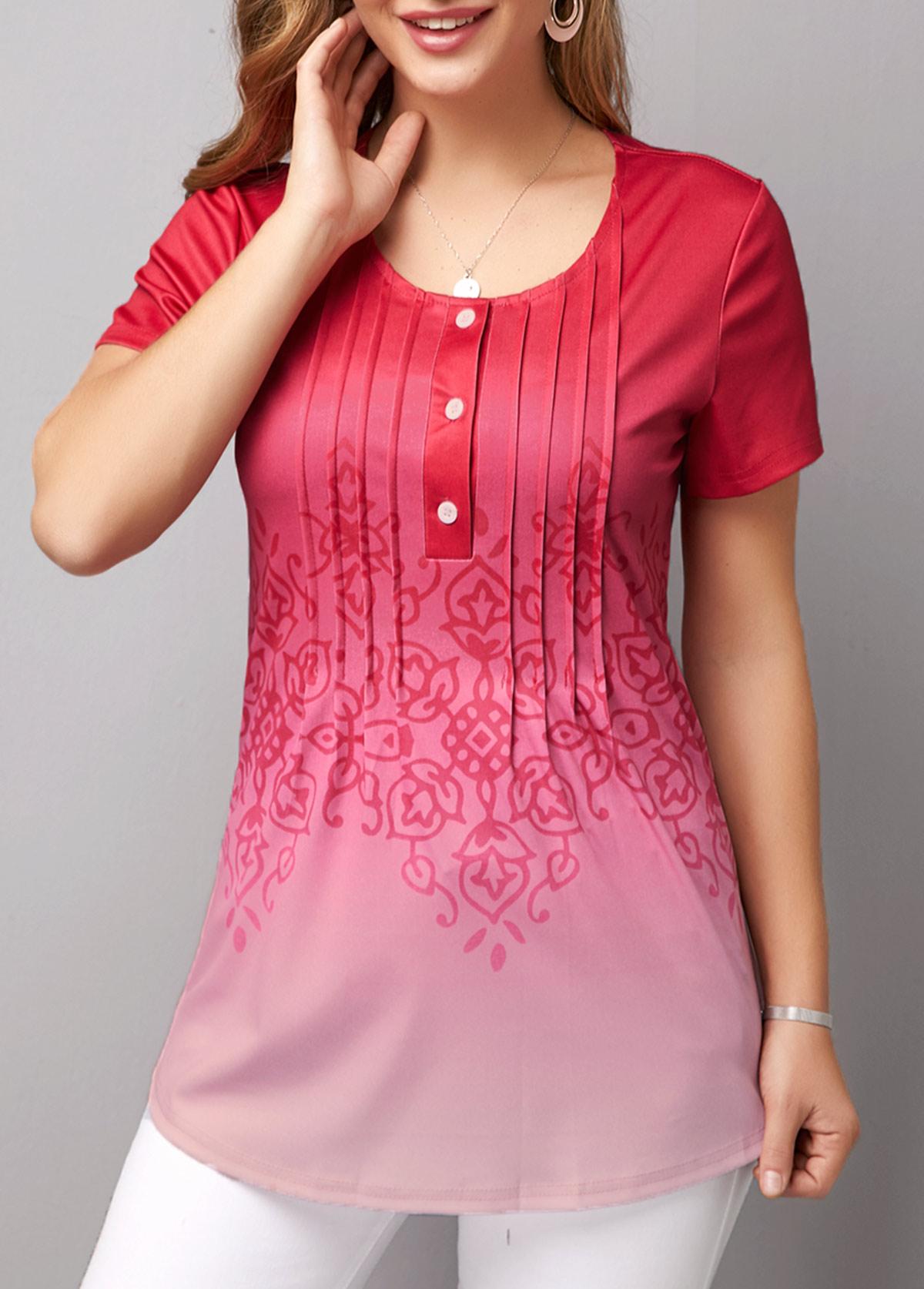 Crinkle Chest Short Sleeve Gradient T Shirt