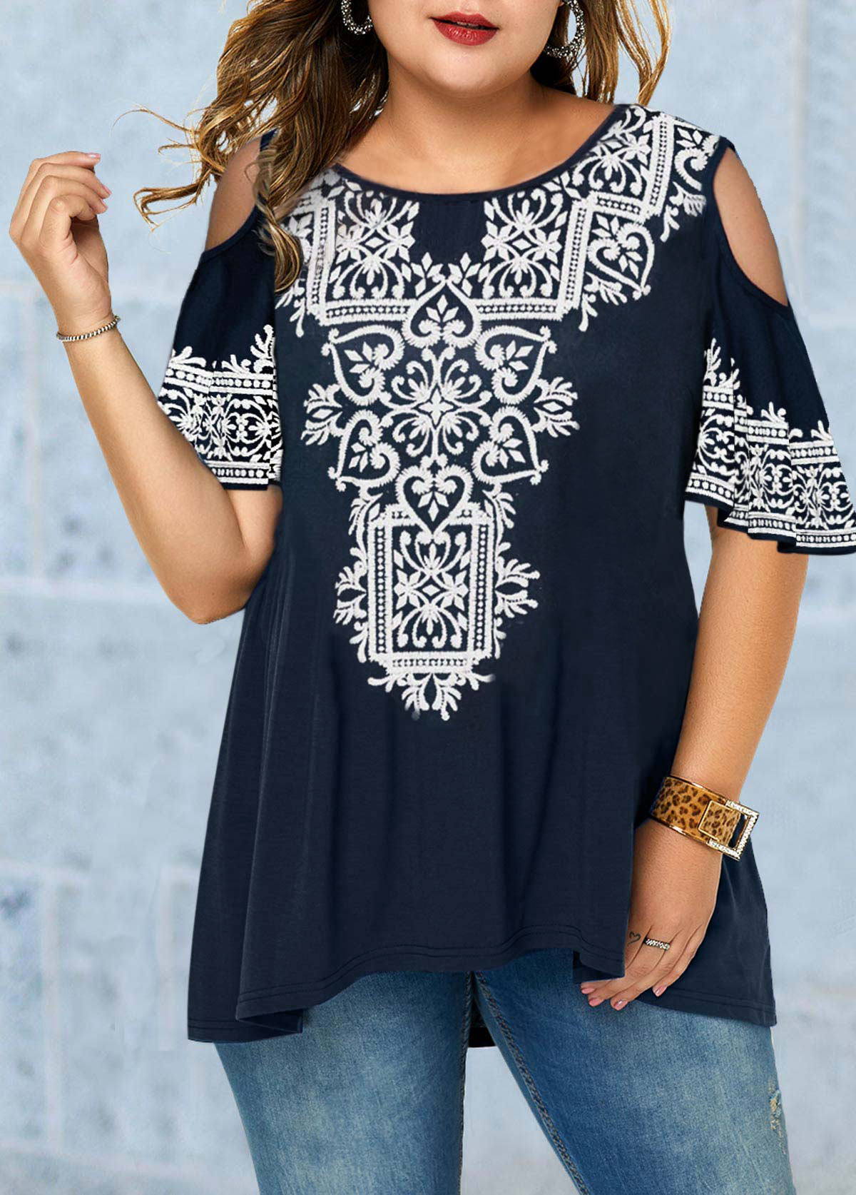 Plus Size Cold Shoulder Tribal Print Blouse