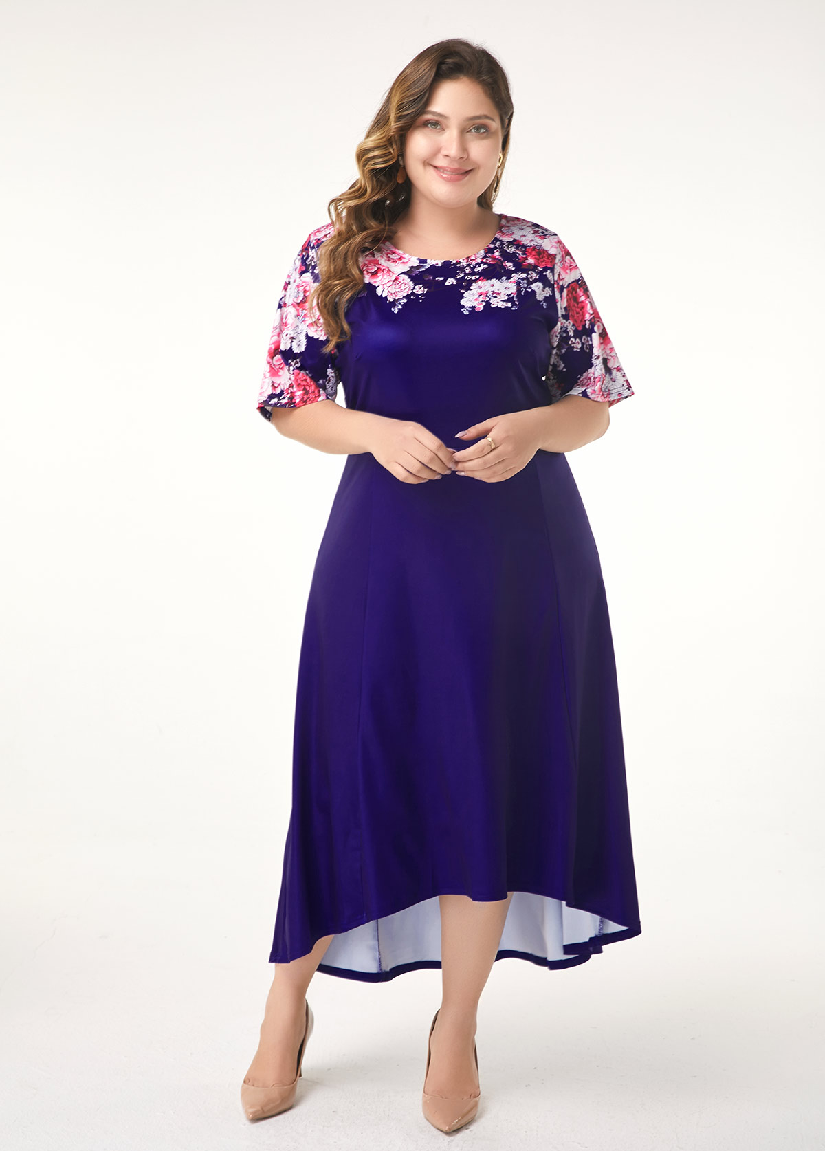 Dip Hem Flower Print Plus Size Dress