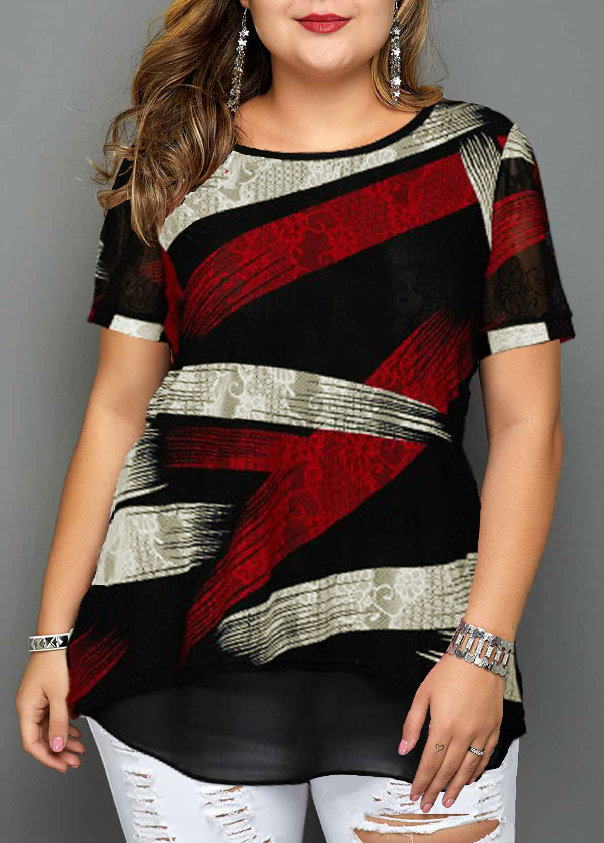 Plus Size Short Sleeve Geometric Print Blouse