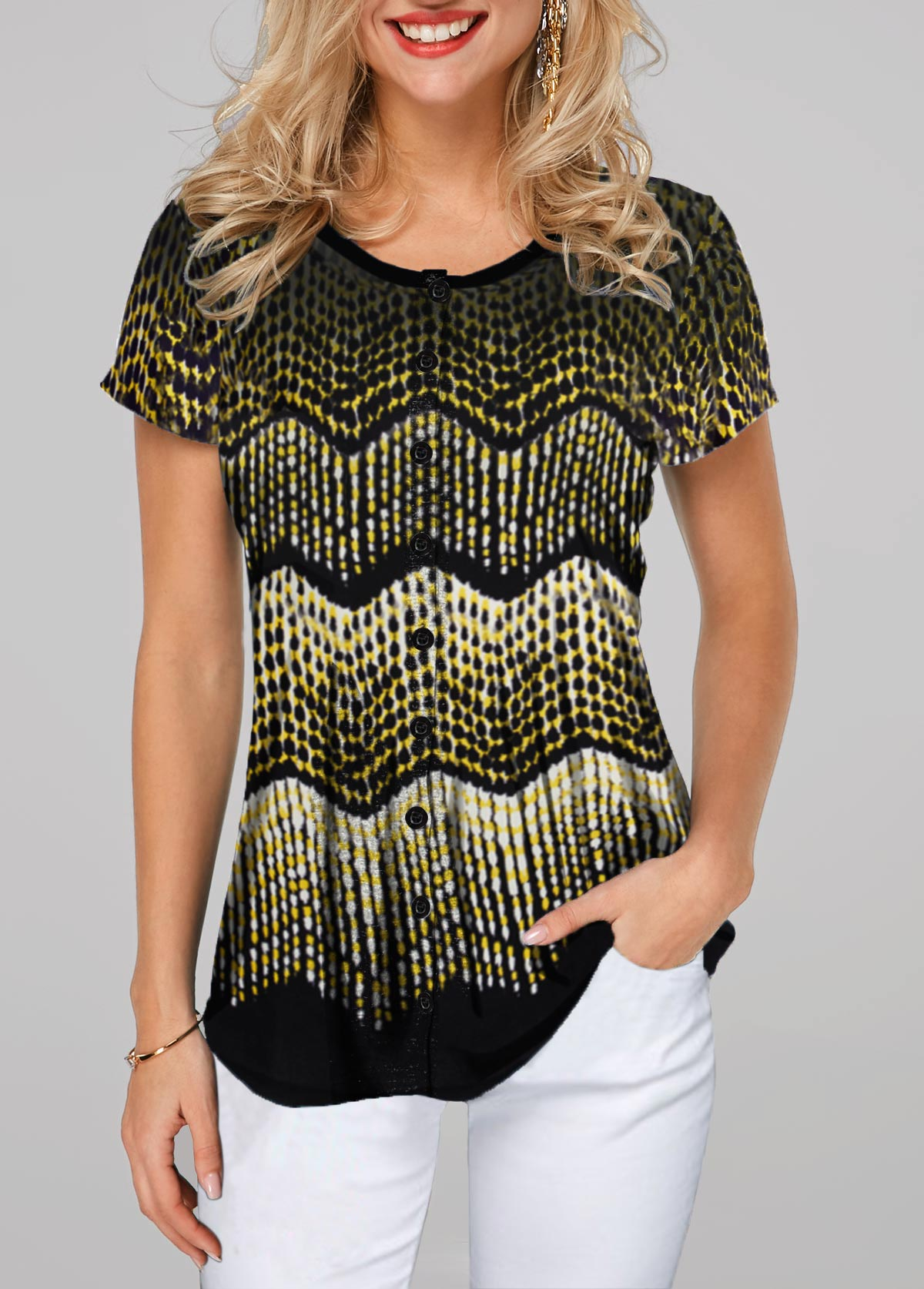 Button Up Printed Short Sleeve T Shirt