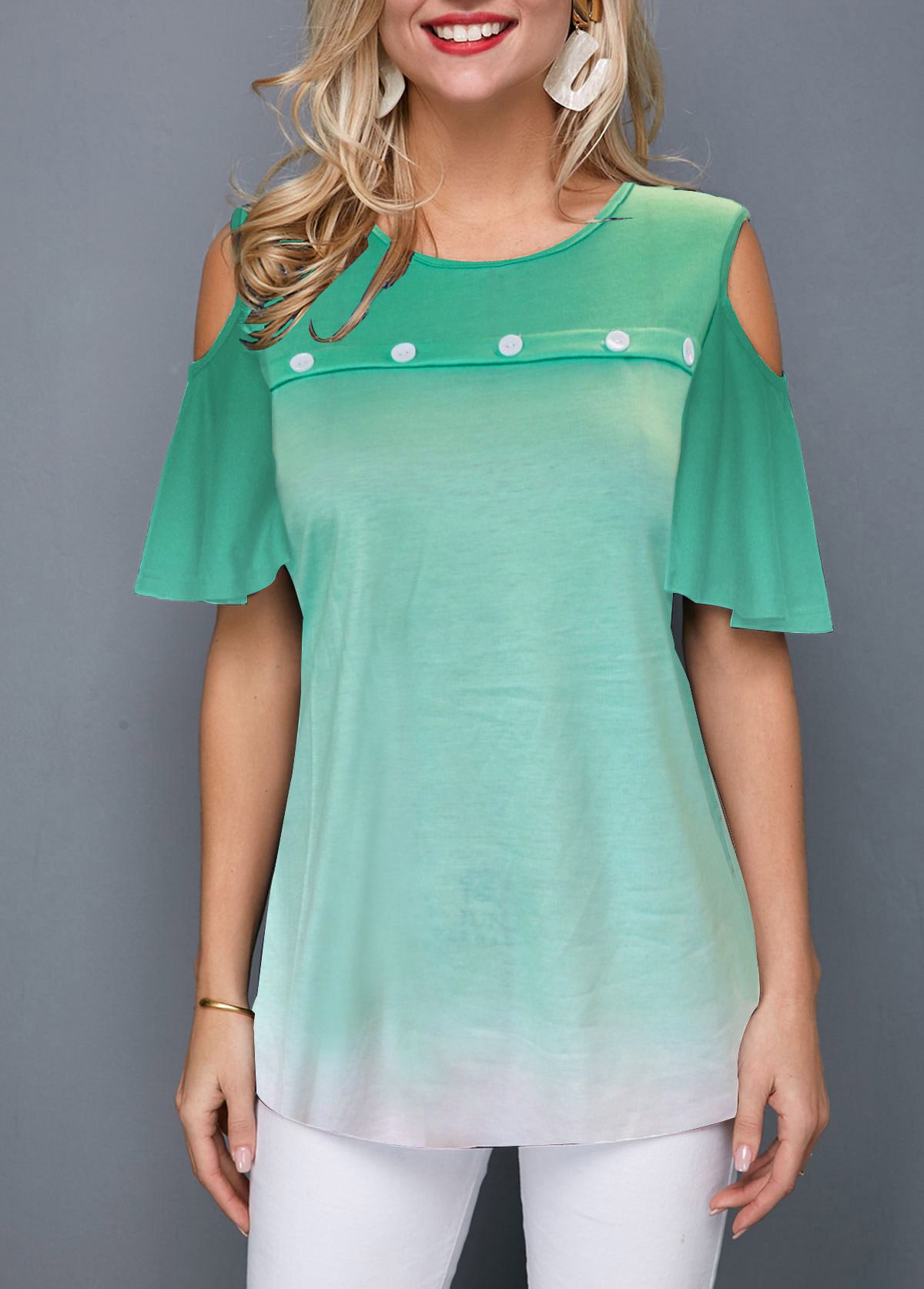 Button Front Cold Shoulder Gradient T Shirt