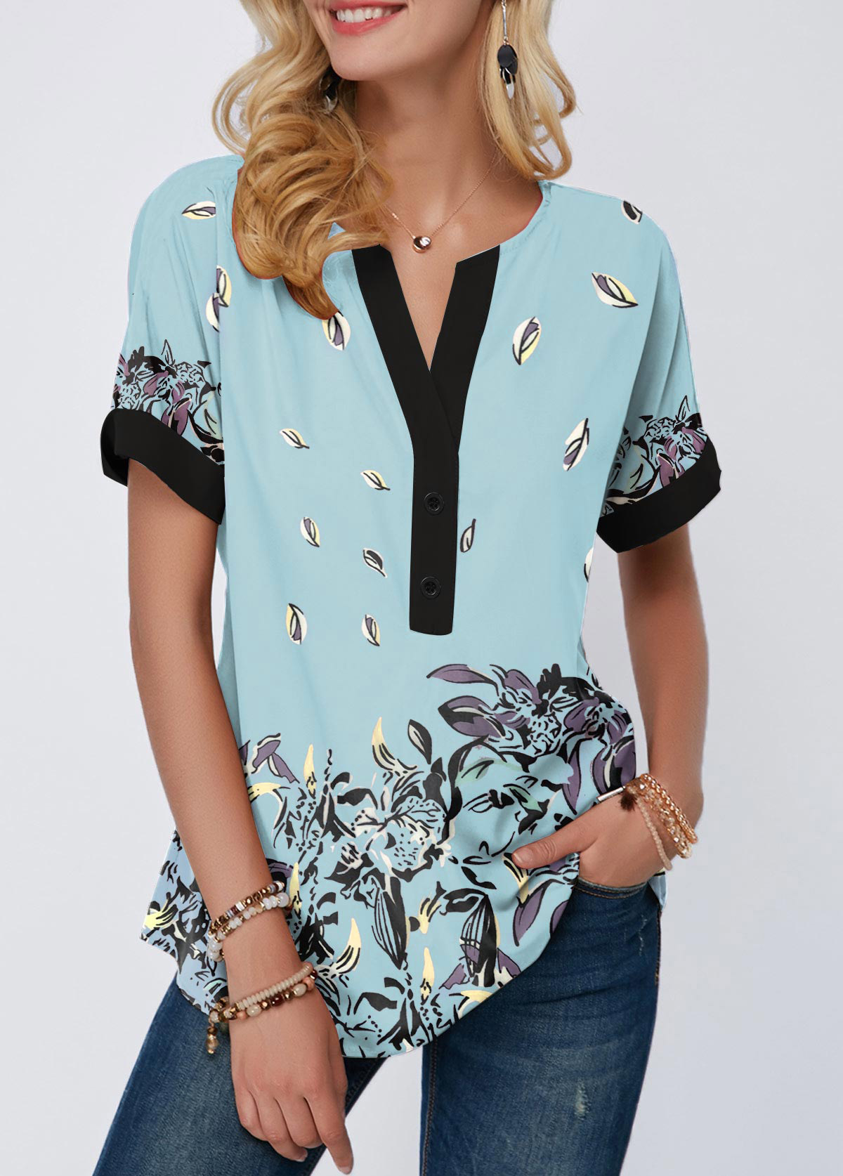Contrast Piping Floral Print Notch Neck T Shirt