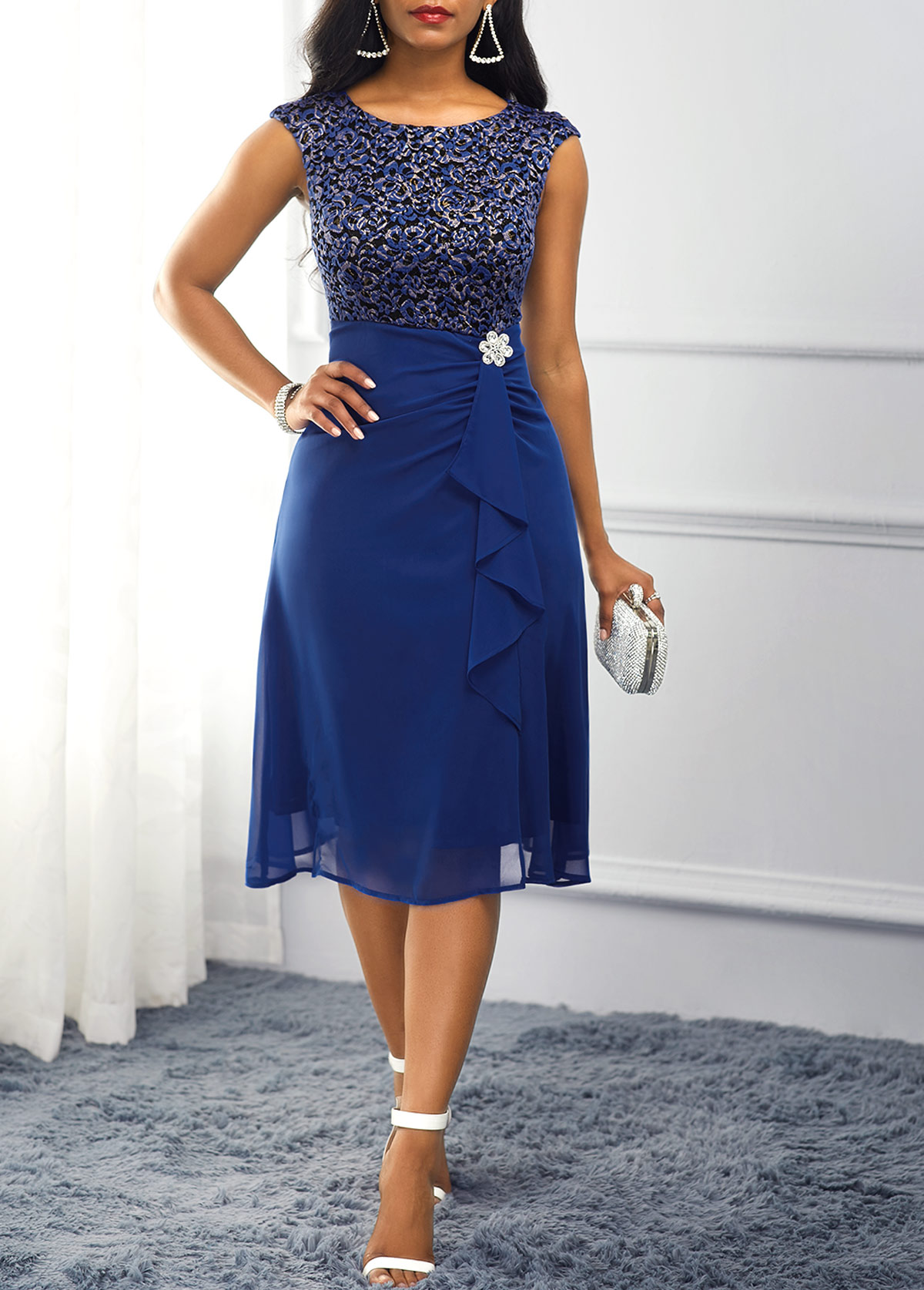 Navy Blue Rhinestone Embellished High Waist Dress