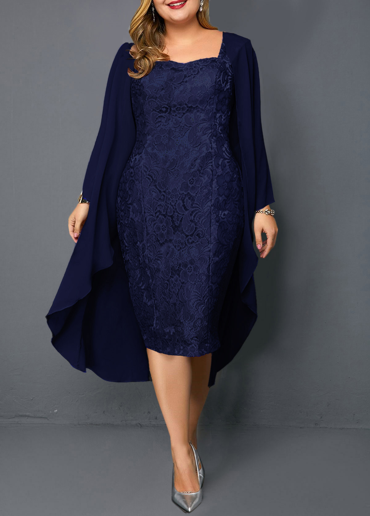 Plus Size Chiffon Cardigan and Sleeveless Navy Blue Lace Dress