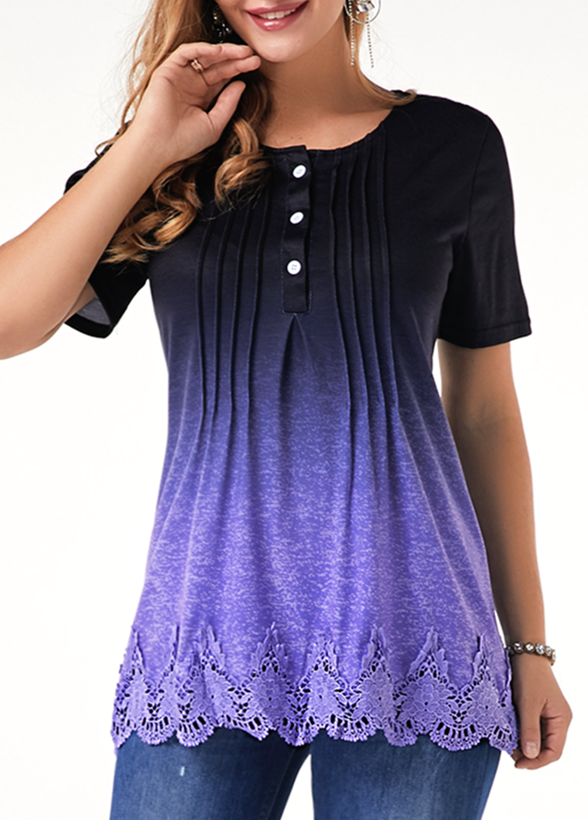 Lace Panel Scalloped Hem Half Button T Shirt