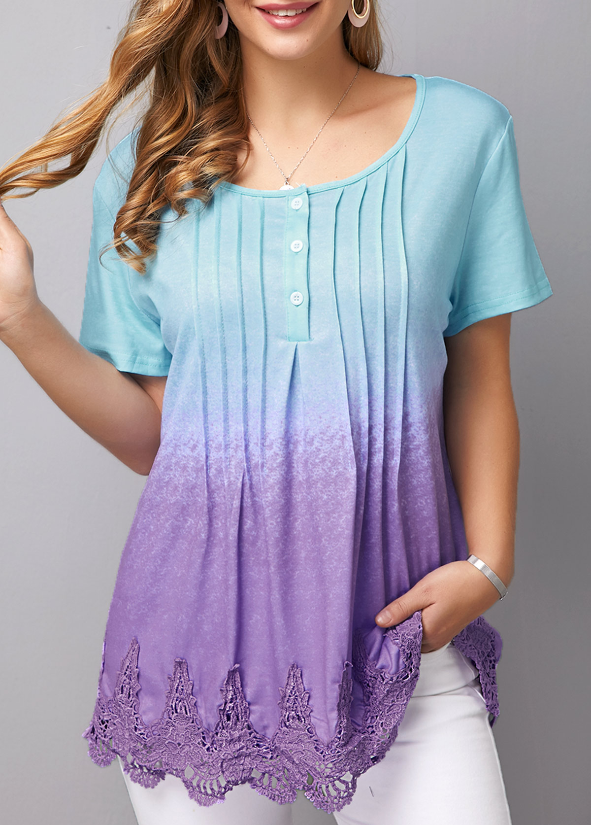 Crinkle Chest Scalloped Hem Lace Patchwork T Shirt