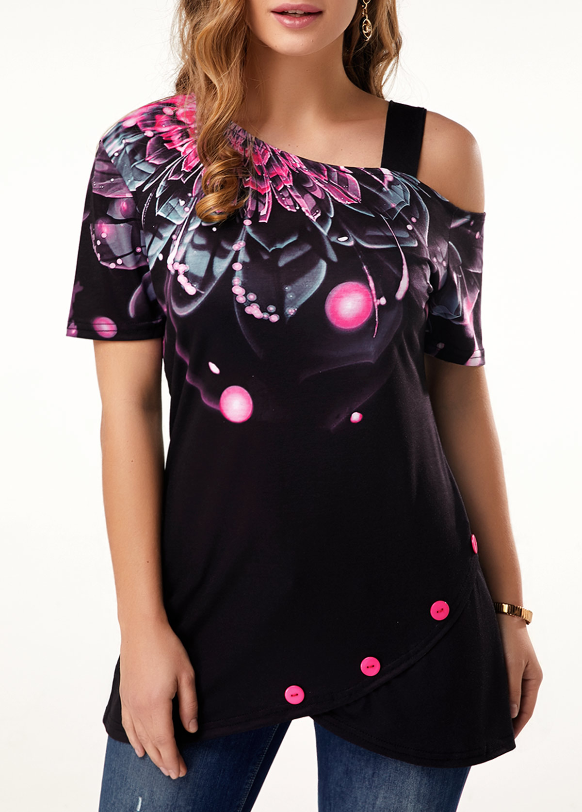 Dazzle Color Floral Print Short Sleeve T Shirt