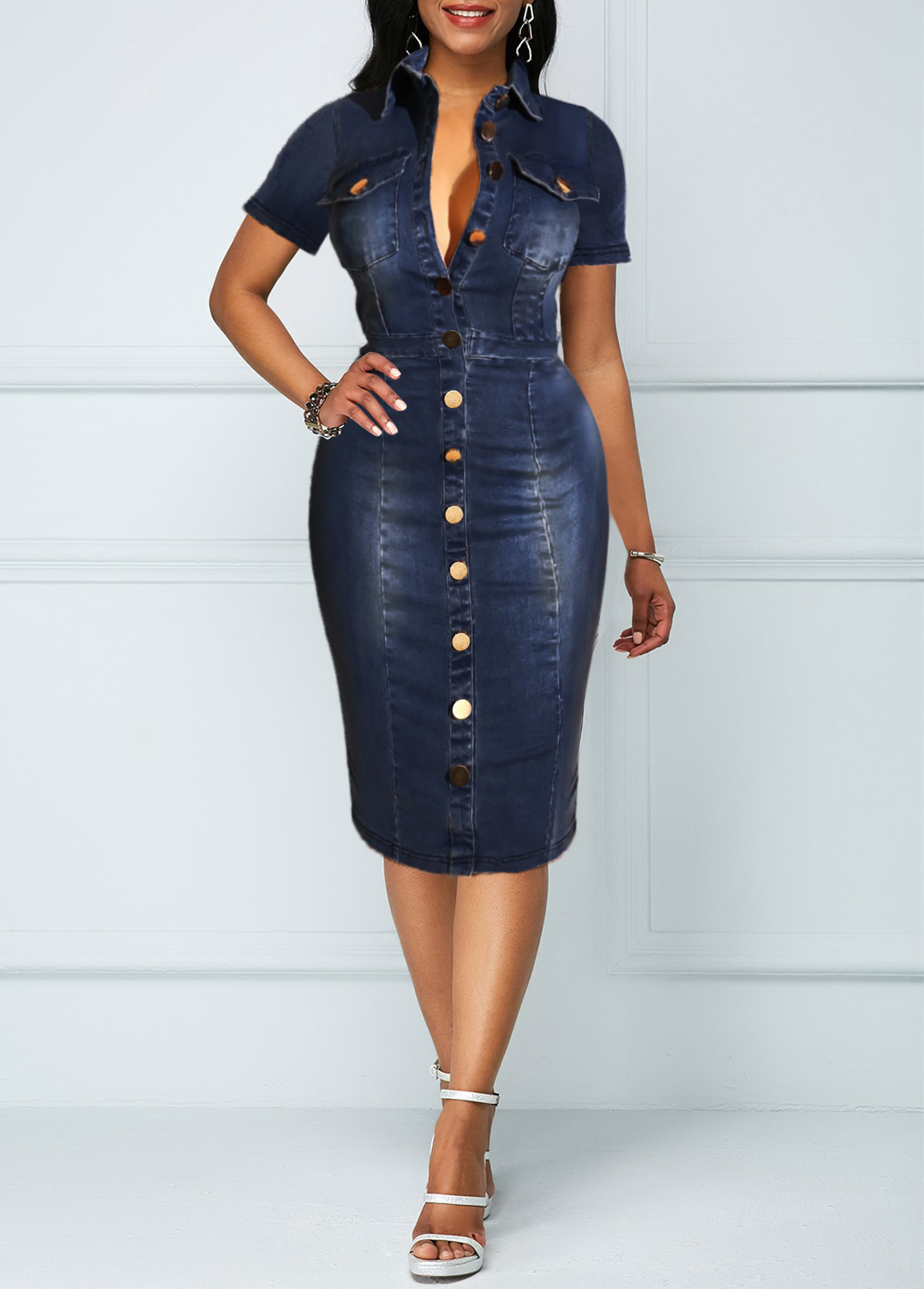 Button Up Chest Pocket Turndown Collar Denim Dress