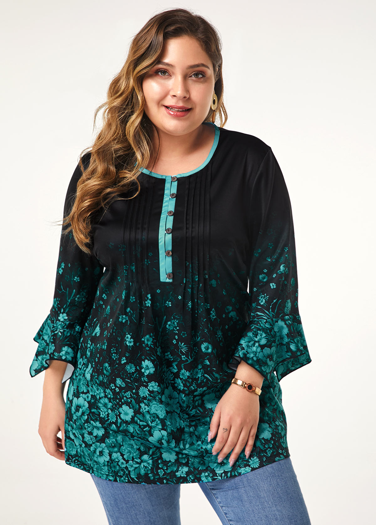 Flower Print Button Front Plus Size Blouse