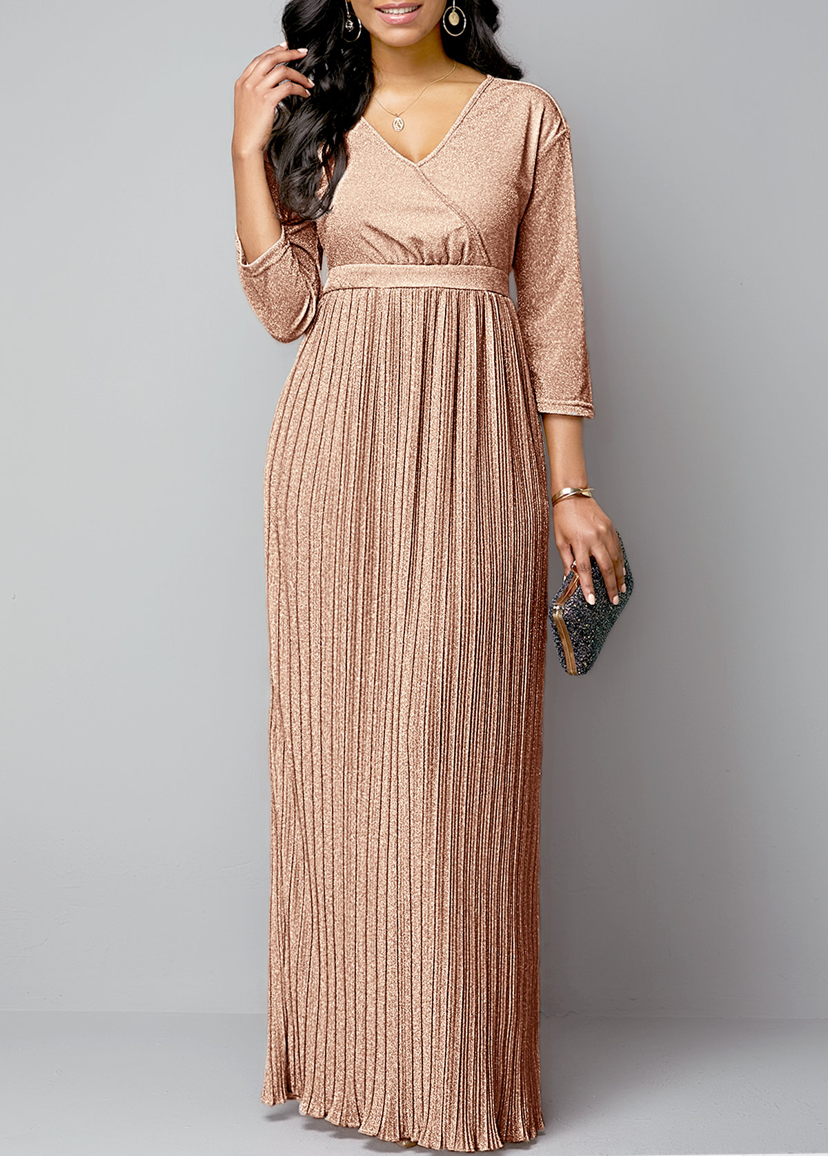 Hot Stamping Plunging Neck Pleated Hem Maxi Dress