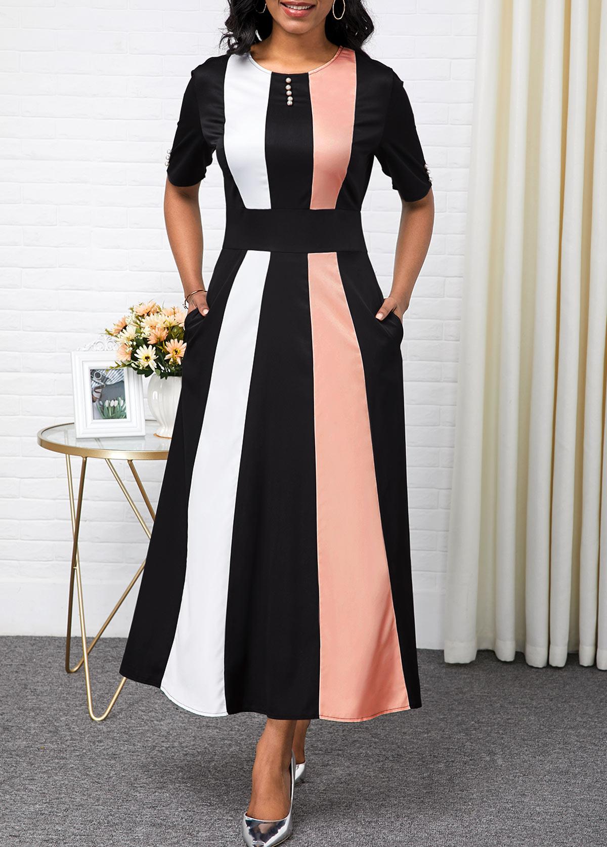 Color Block High Waist Button Detail Maxi Dress