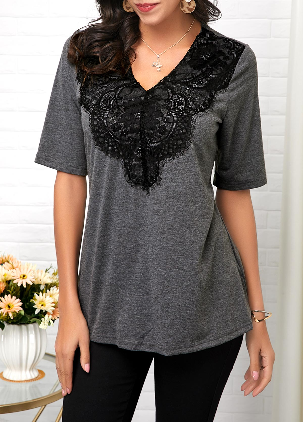 Lace Panel Half Sleeve V Neck T Shirt