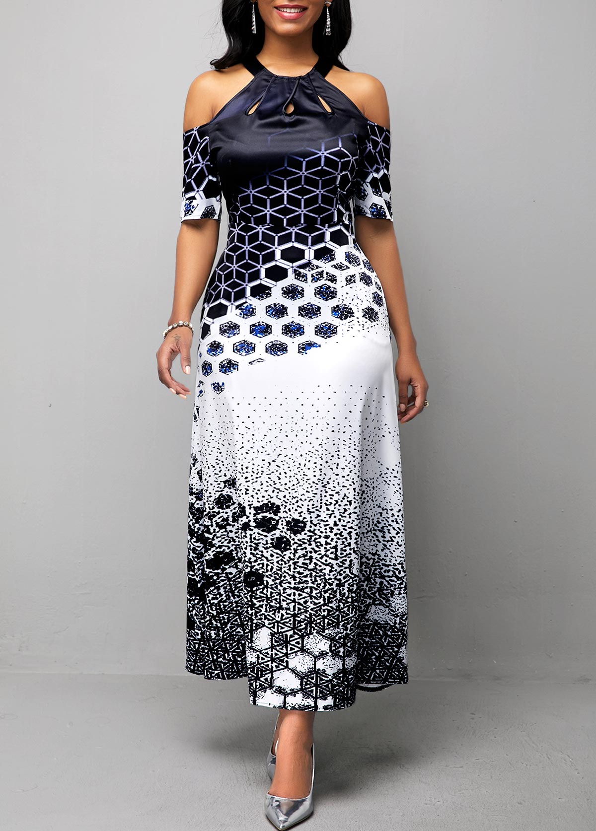 Geometric Print Cold Shoulder Bib Neck Maxi Dress