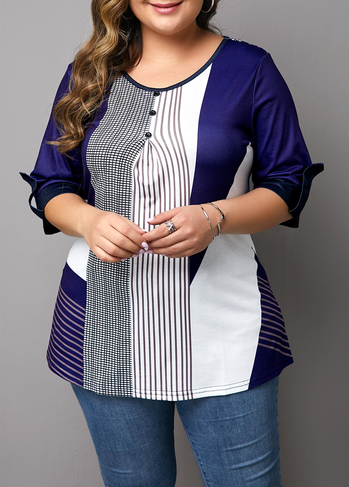 Plus Size Stripe Print Button Detail T Shirt
