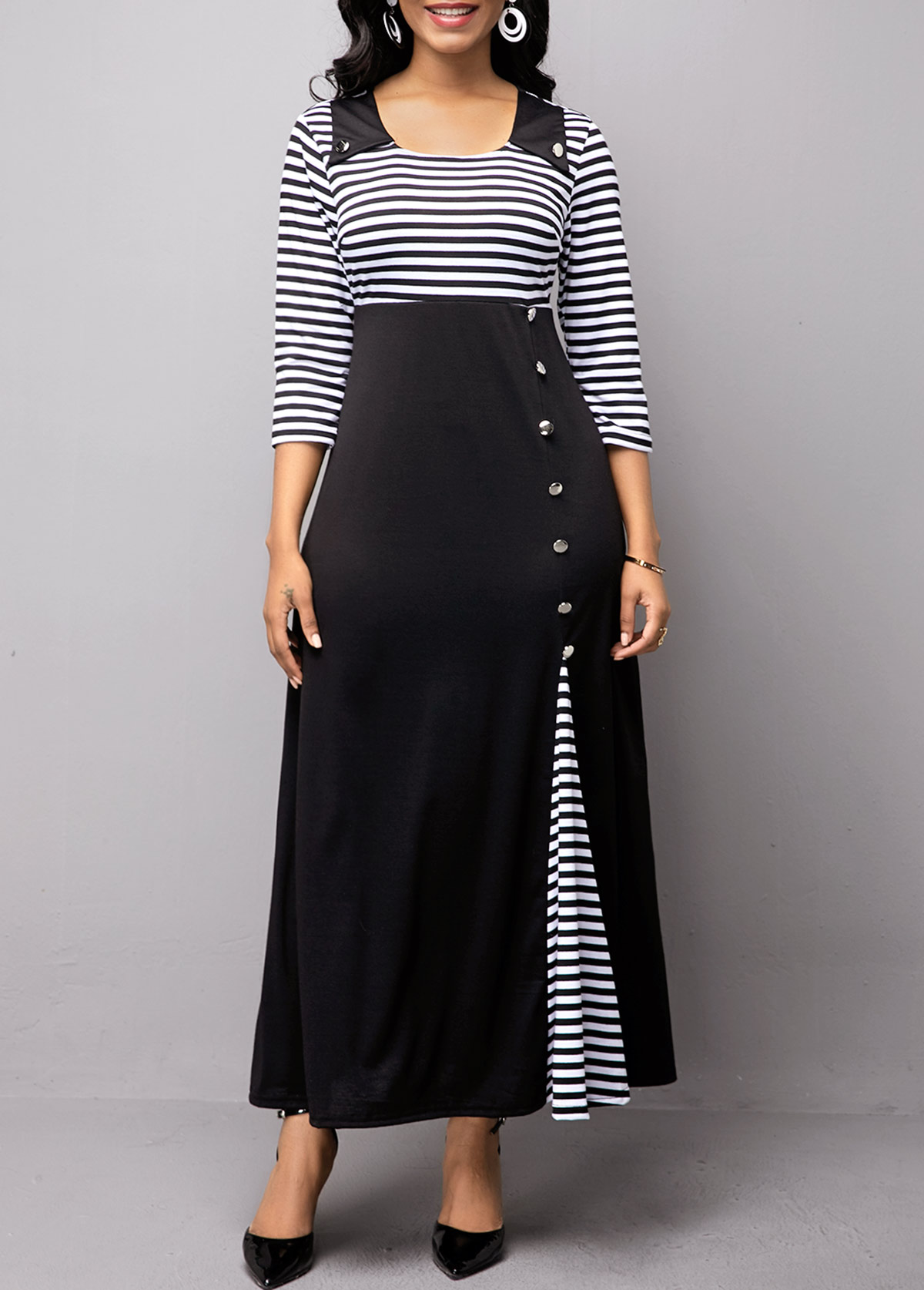 Stripe Print Button Detail High Waist Dress