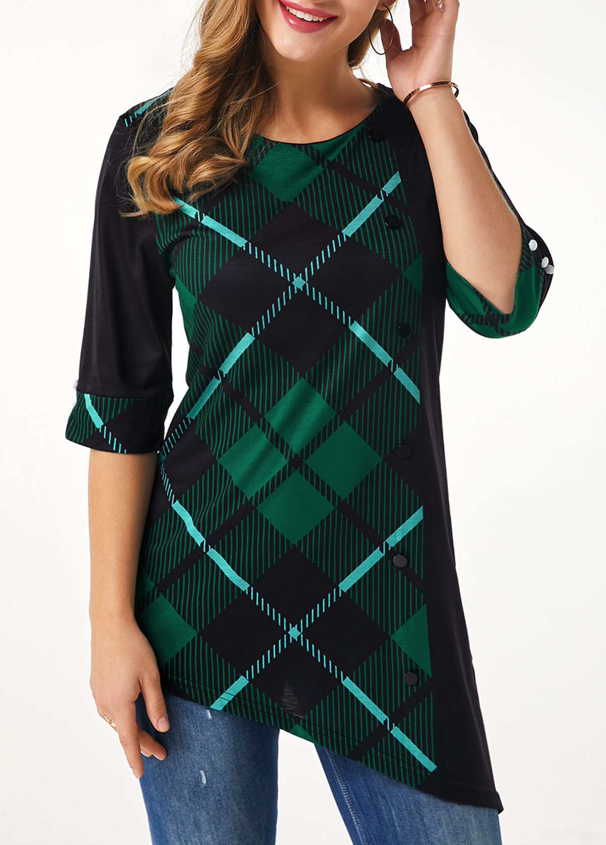 Plaid Print Asymmetric Hem Three Quarter Sleeve T Shirt