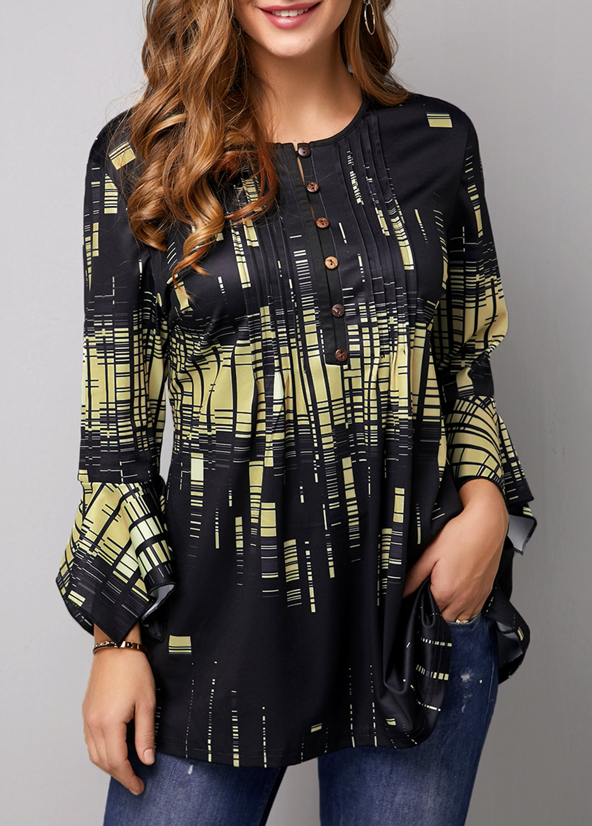 Button Front Flare Cuff Printed Blouse