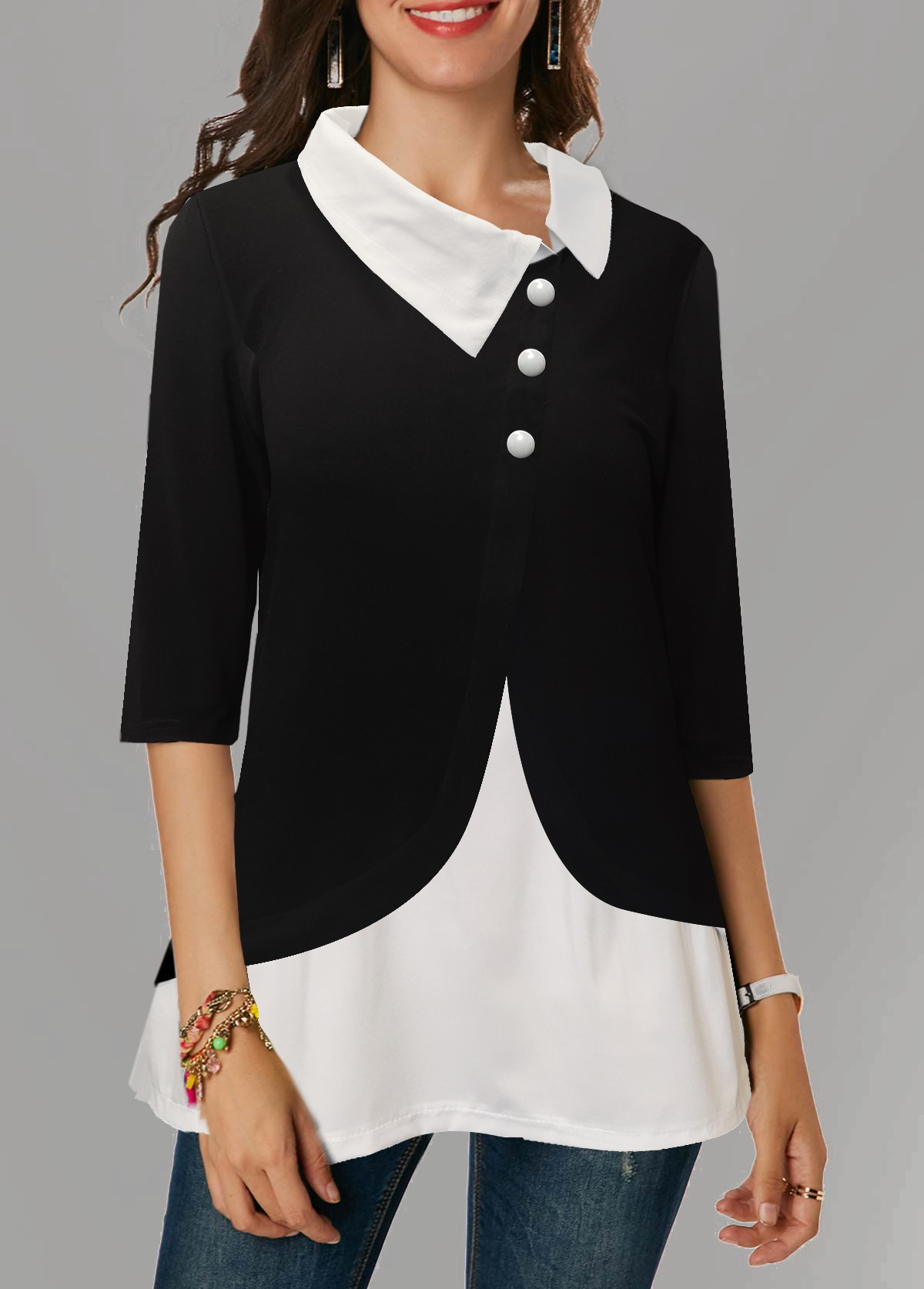 Asymmetric Neckline Button Detail Three Quarter Sleeve Blouse