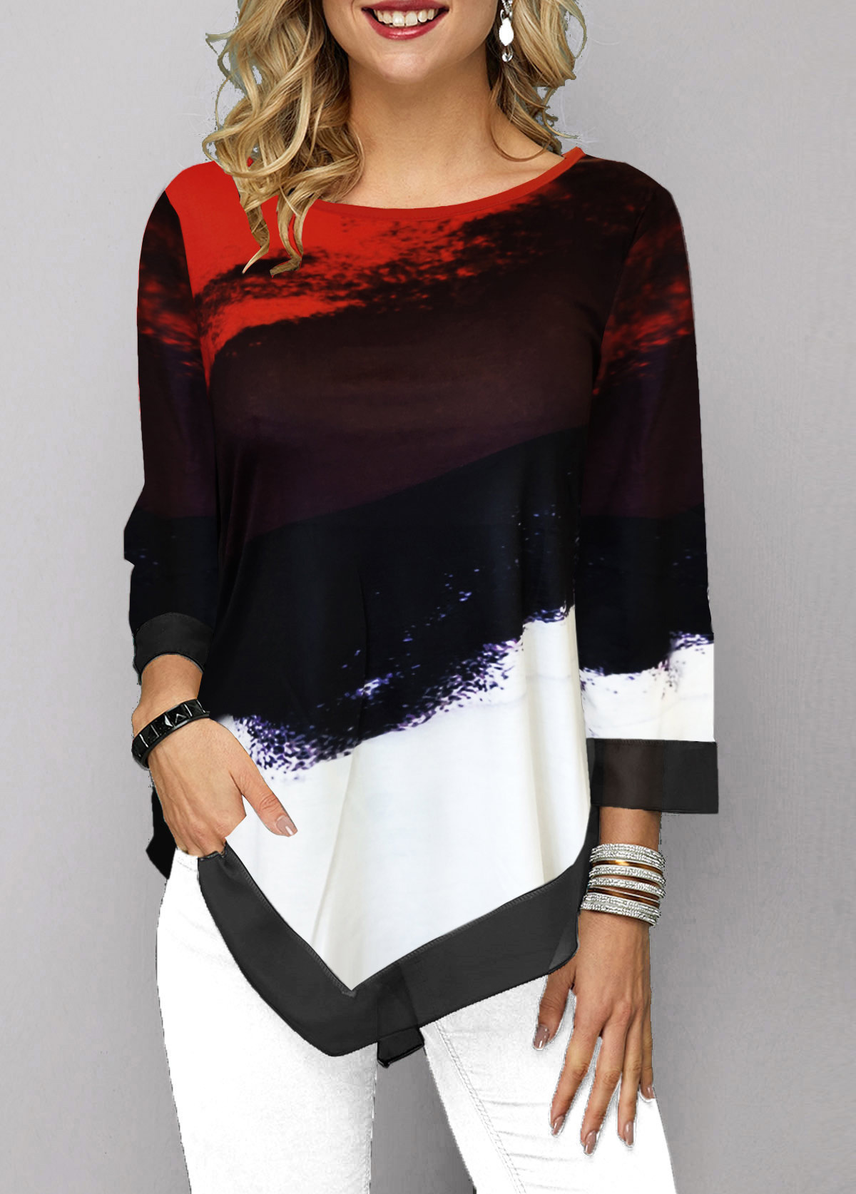 Three Quarter Sleeve Printed Asymmetric Hem T Shirt