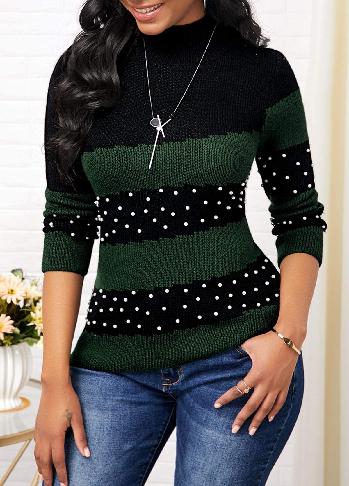 Mock Neck Bead Embellished Color Block Sweater