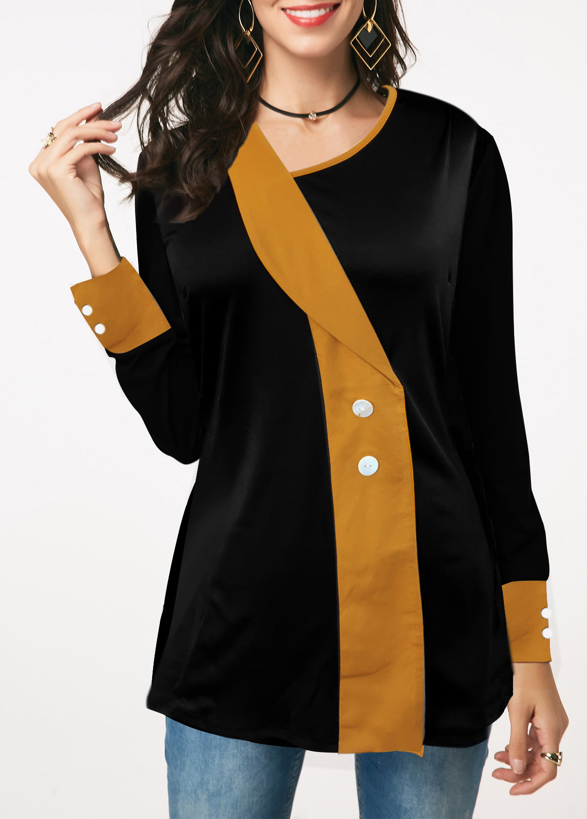 Asymmetric Neckline Button Detail Contrast Panel T Shirt