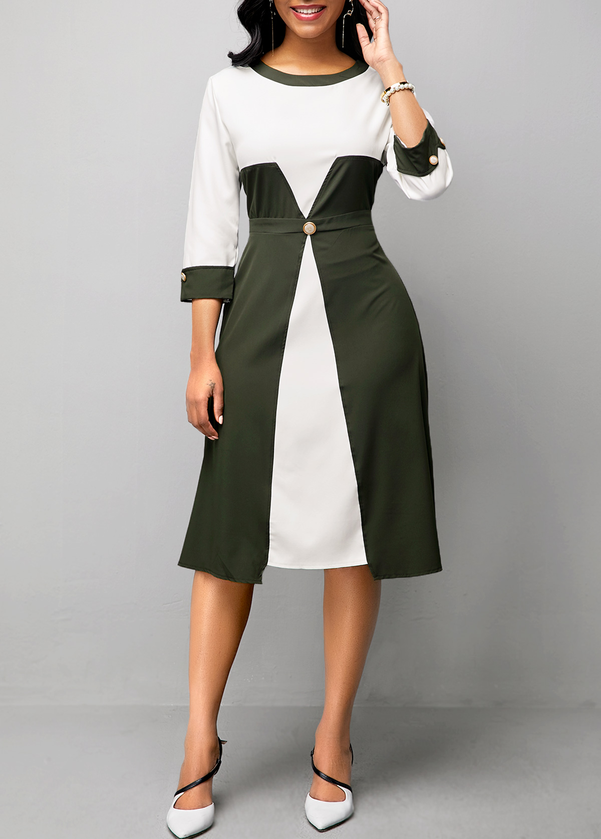 Color Block High Waist Three Quarter Sleeve Dress