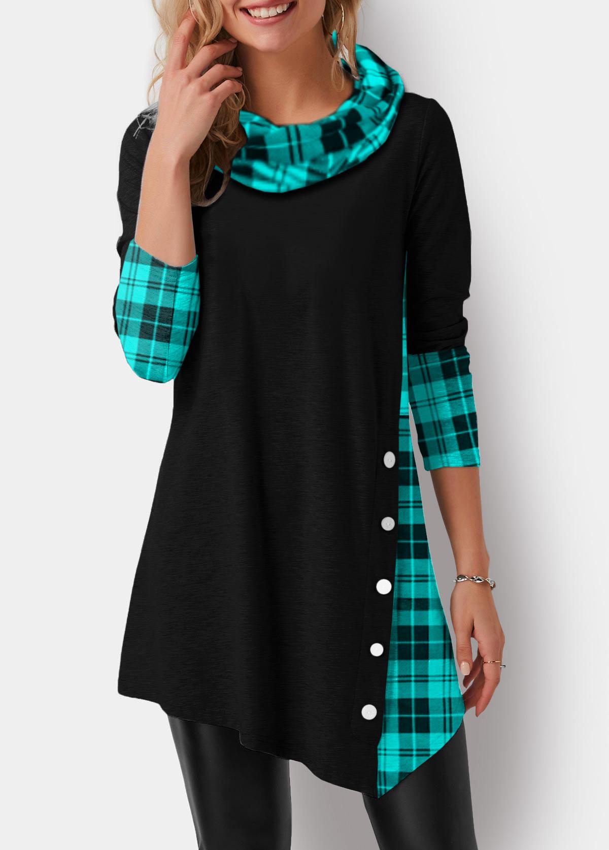 Cowl Neck Plaid Print Asymmetric Hem T Shirt