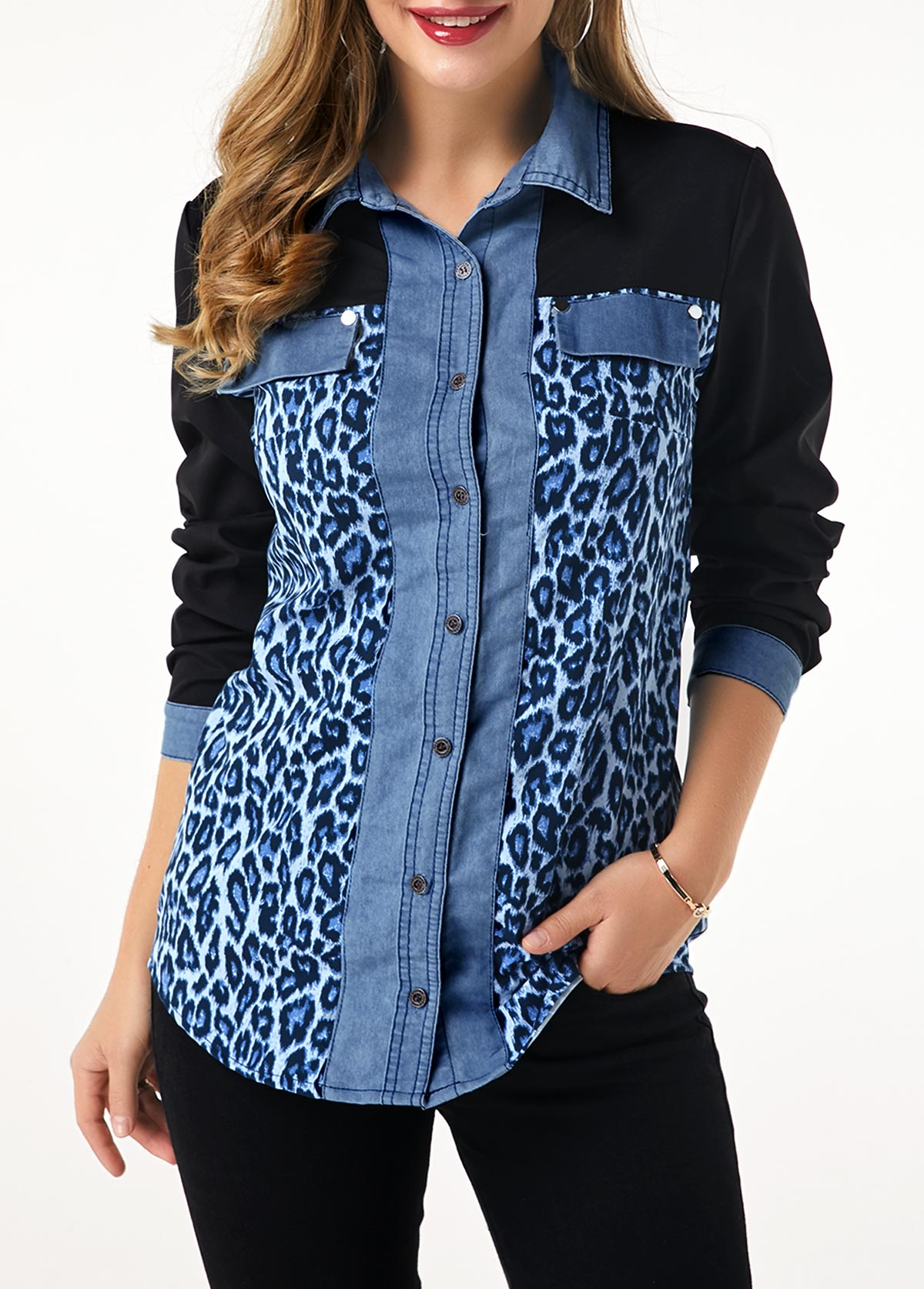 Leopard Print Denim Panel Button Up Shirt