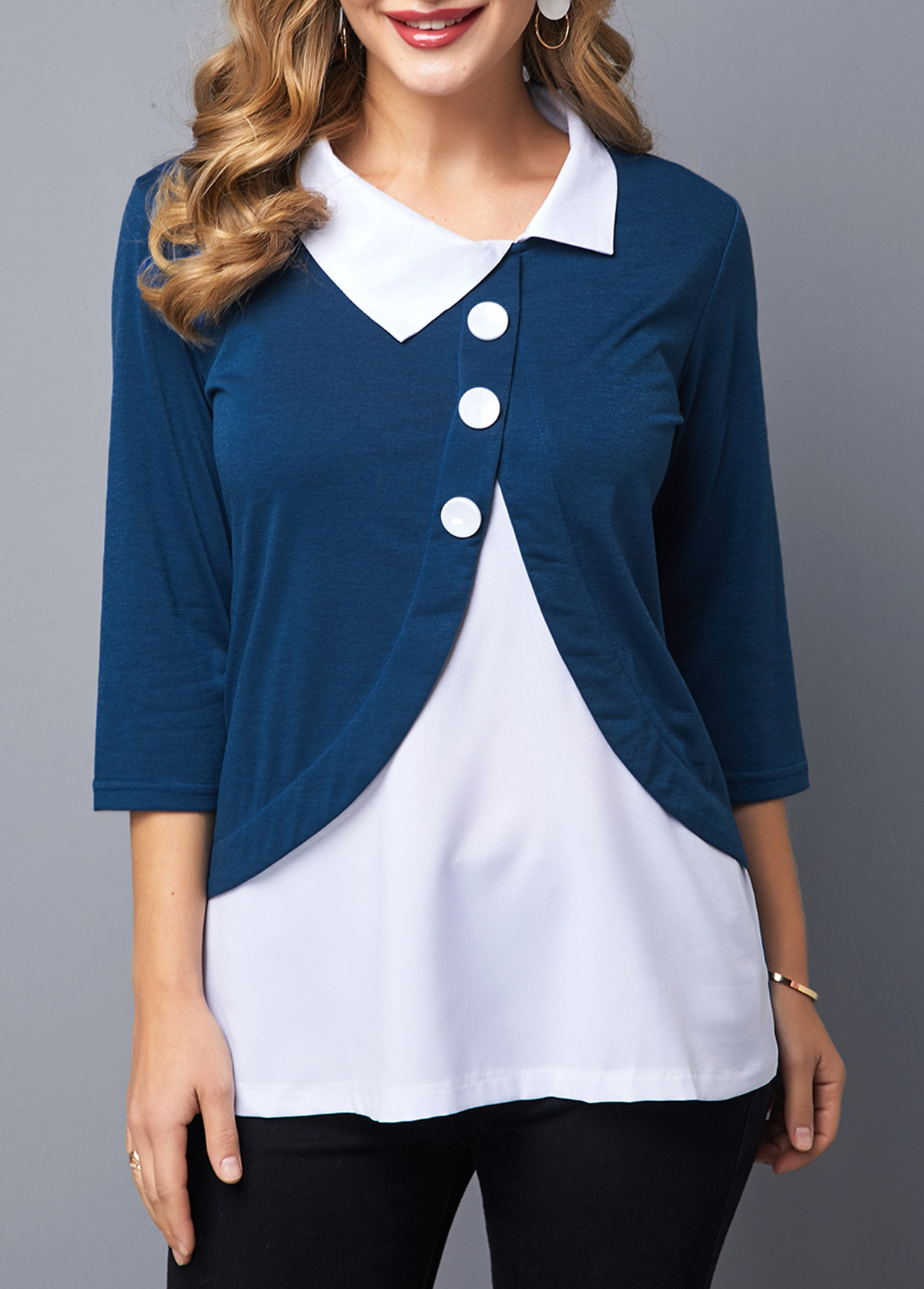 Faux Two Piece Button Detail Turndown Collar Blouse