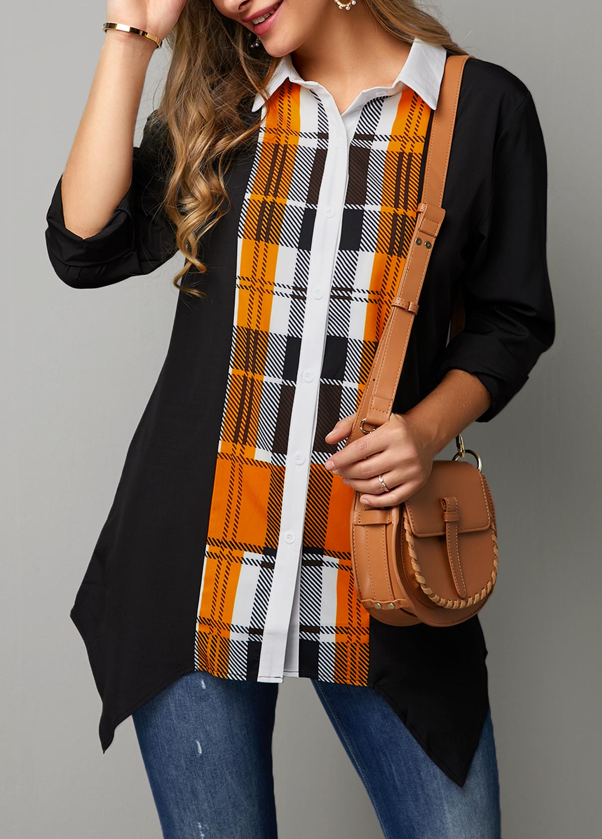 Plaid Print Button Up Asymmetric Hem Shirt