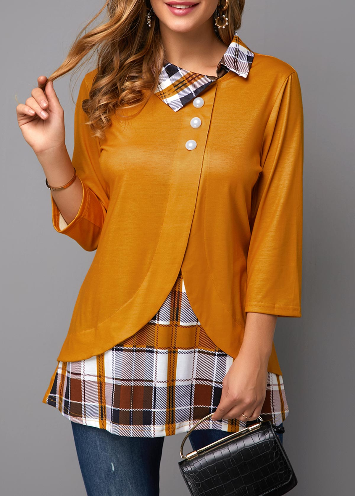 Plaid Print Button Detail Three Quarter Sleeve Blouse
