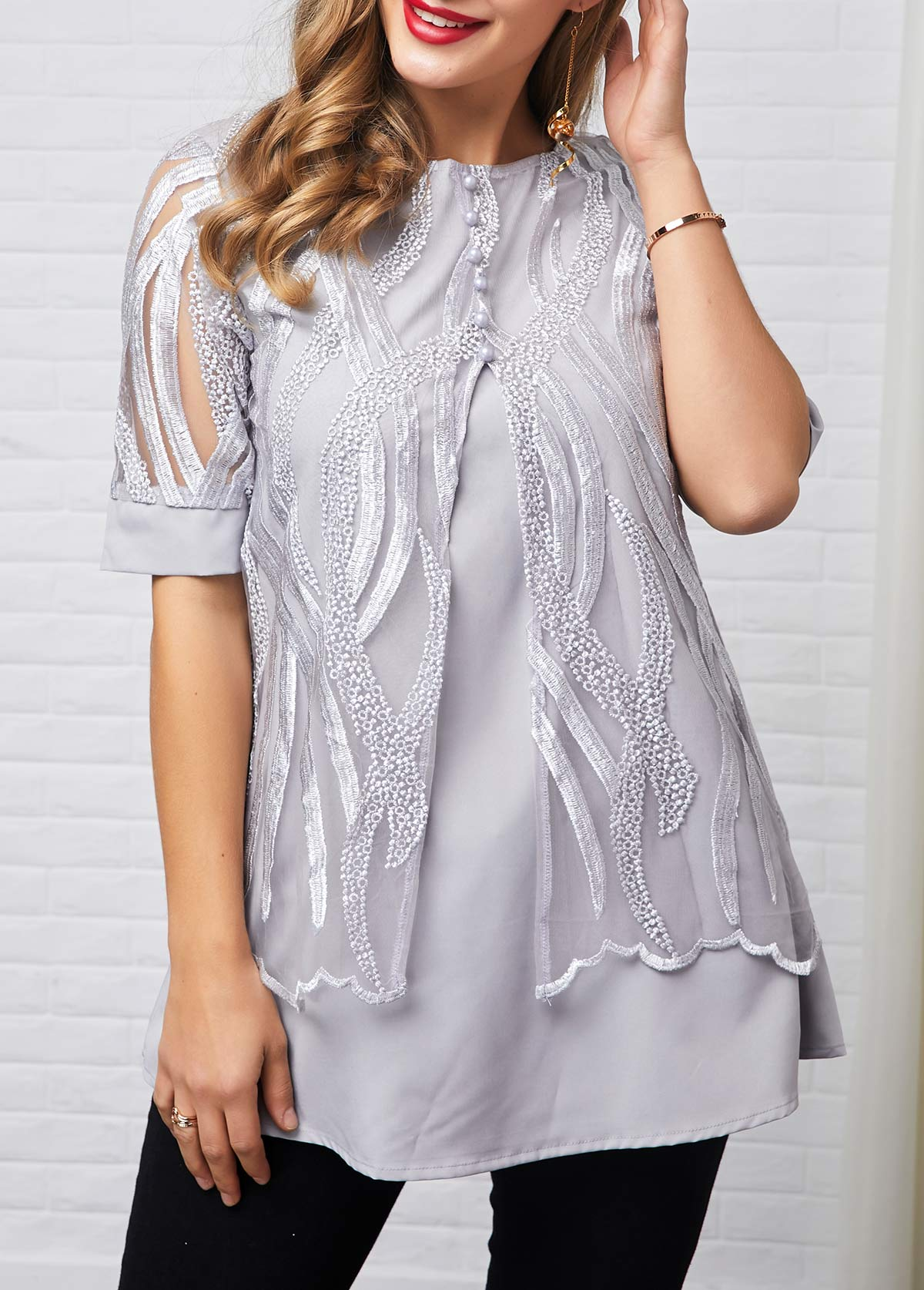 Lace Patchwork Button Detail Half Sleeve T Shirt