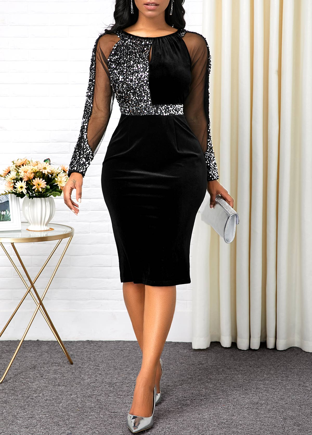 Sequin Embellished Back Slit Black Dress