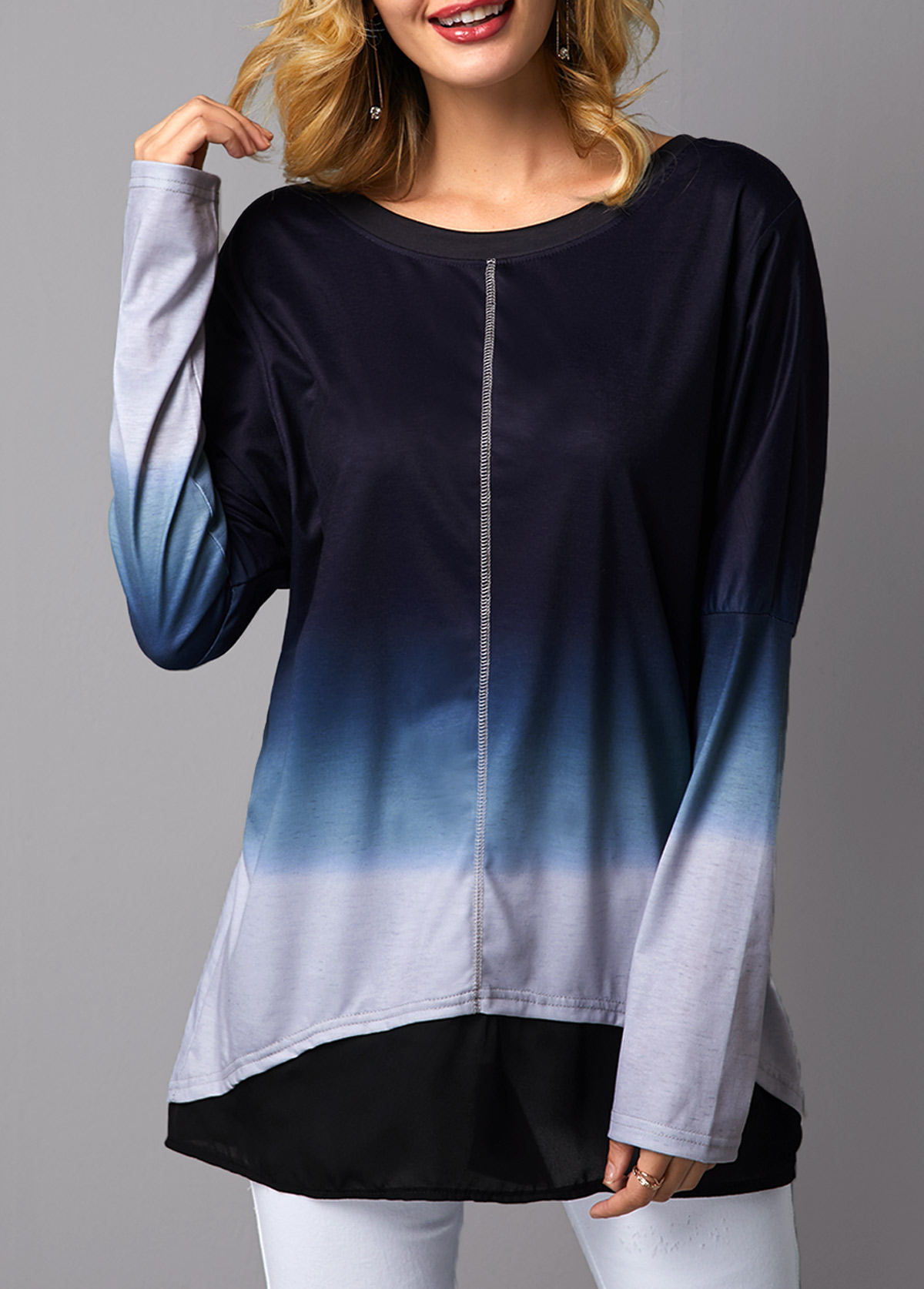 Long Sleeve Asymmetric Hem Round Neck T Shirt